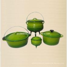 Ensemble de cuisson en fonte 4PCS en couleur verte