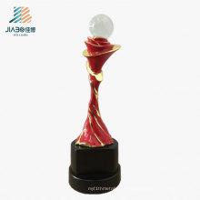 High Quality 22cm Zinc Alloy Custom Crystal Ball Metal Trophy in Souvenir