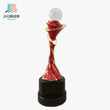 High Quality 22cm Zinc Alloy Custom Crystal Ball Metal Trophy in Souvenir