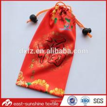 Bolso promocional microfibra de bolsillo de regalo, bolsa de regalo de microfibra de cordón para bolsa de vidrio