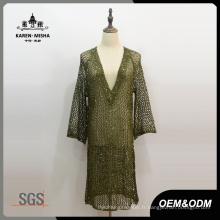 Femmes Plongeant V-Neck Fashion Dress