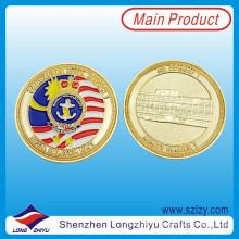 Souvenir Monnaies personnalisées Réplique Monnaies en médaillon en or, souvenirs en métal en métal 3D Monnaies en émail Défi militaire Monnaies en médaillon du Corps de marine de Malaisie