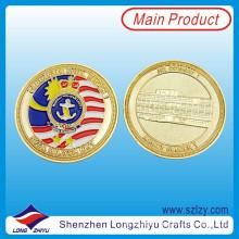 Lembrança Moedas Custom Réplica Gold Plating Moedas Medalhão, Metal 3D Lembrança Esmalte Moedas Desafio Militar Malásia Marine Corps Medalhão Moedas