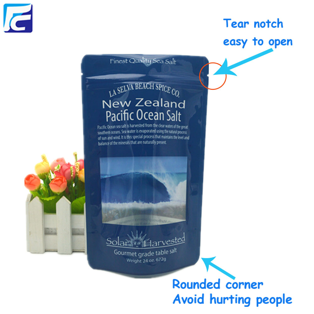 Custom reusable stand up plastic sea salt pouch