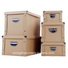 Многофункциональный сильный картон Kraft Paper Складной ящик для хранения с металлической кнопкой и ручкой для офисной / домашней упаковки