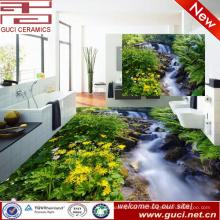 fabricación de China 3d naturaleza verde impresión suelo de porcelana vitrificada y azulejo de la pared