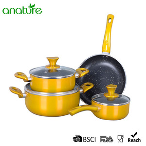 Wholesale Price for Pressed Aluminum Frying Pan Pressed Marble Non Stick Interior Cookware Set export to Estonia Exporter