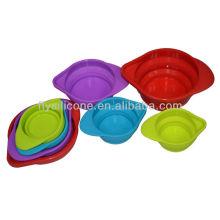 유연한 편리한 customizde 다채로운 실리콘 컵을 측정