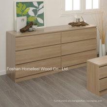Simplemente diseño de madera dormitorio 6 cajones de almacenamiento de pecho (HC27)