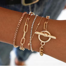 Wholesale Fashion Jewelry Bracelets Gold Chunky Chain Punk Diamond Bracelet for Women