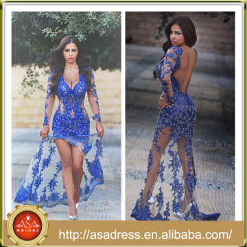 AP-03 Glamorously Sexy Appliqued Evening Party Robe de haute qualité Embellished Bodice Backless Long Sleeve Blue Prom Dress