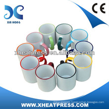 11oz Rim Color Sublimation Ceramic Mug for printing wholesale