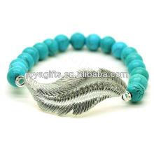 Türkis 8MM runde Perlen Stretch Edelstein Armband mit Diamante Feder Legierung Stück