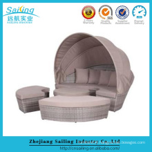 Hotel Used Furniture Outdoor Rattan Daybed With Sunshade