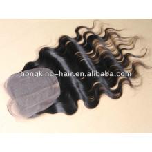 4 * 4 milieu divisé ondulé brésilien remy cheveux fermeture à lacets