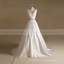 Elegant V-Neck Rhinestone perlé plissé A-ligne robe de mariée