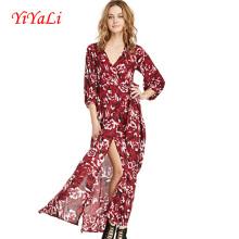 Vestido de moda de verano flor gasa impresión mujeres 2016