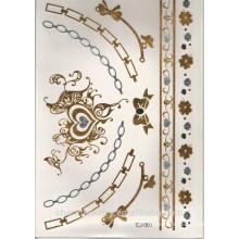 OEM Tattoo Aufkleber Luxus Qualität Silber und Gold Farbe Metall wasserdicht Tattoo Aufkleber Armband CJ001