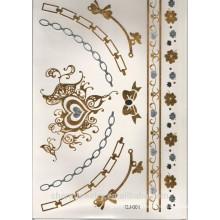 OEM наклейки татуировки люкс высокого качества серебра и золота цвета металла водонепроницаемый татуировки наклейки браслет CJ001