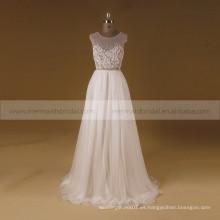 Boho nuevo trabajo de mano rebordear en cinturón gasa ver a través de vestido de boda
