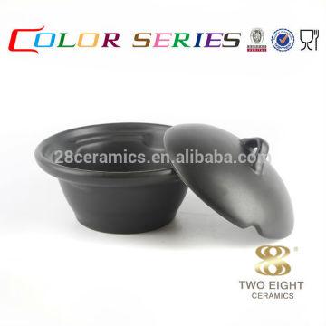 Equipo de vajilla de Corea del último vajilla del estilo del OEM fijado, tazón de fuente de cerámica negro con la tapa