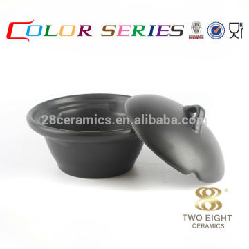 OEM latest style crockery Korea tableware set , black ceramic bowl with lid