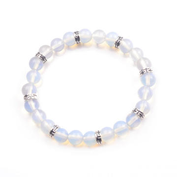 Trendy Nature Opal Beaded Alloy Bracelet Unisex Energy Stone Beaded Bangle
