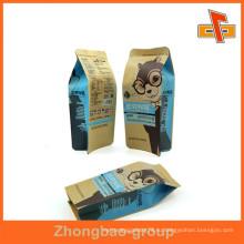 Алюминиевая фольга Gusset мешок продовольственной сумки с 4 боковыми пломбами из коричневого логотипа печатной бумаги