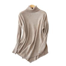 Pull à col roulé pour femmes 100% cachemire de couleur unie manches longues mode plus la taille des chandails avec ourlet irrégulière