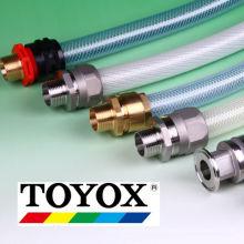 Varios tipos de acoplamientos de aluminio, acero inoxidable, polipropileno o bronce. Fabricado por Toyox. Hecho en Japón