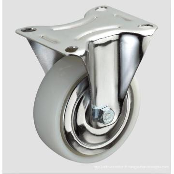 Roulette plate en nylon industriel de 3 pouces sans frein