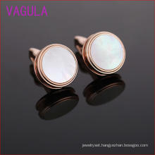 Round Rose Gold Plating Copper Shell Cufflinks L51926