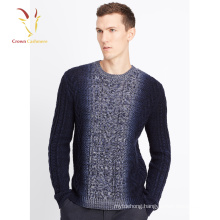 Mens Cashmere Wool Sweater Cable Design Round Neck Pullover Sweater