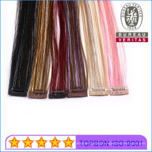 Cuticle Alignment Mix Colord Hair with Color Ribbons 1 Piece Not Human Hair Clip Hair Extension
