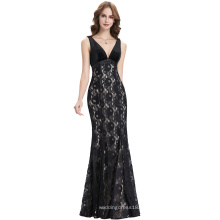 Kate Kasin sin mangas con cuello en V vestido de noche de encaje negro largo KK000102-1