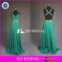 2017 New Collection Elegant Beaded Spaghetti Strap Open Back Beaded Sash Chiffon Long Prom Dresses For Lady