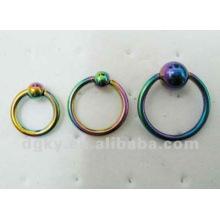 Encantador titanio plateado anillos prisioneros perla