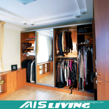Caminhada da madeira maciça da L-Forma no armário do Wardrobe com espelho (AIS-W362)