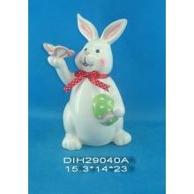 Керамический кролик ручной работы для украшения Пасхи