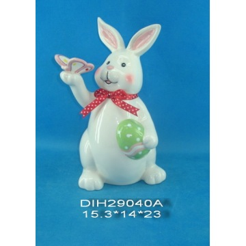 Hand-Made Ceramic Rabbit for Easter Decoration