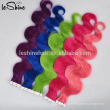 Chine usine de cheveux 40 pièces par paquet de cheveux de ruban rose extensions de cheveux humains brésiliens