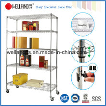 NSF Commercial Ajustable Cromo Metal Wire Book Shelf con ruedas