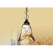Traditional Wrought Iron Chandelier / Amber Vintage Glass P