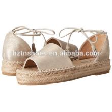 Peep-toe Women Summer Shoes 2016 Lady Espadrille Ankle Wrap Sandals