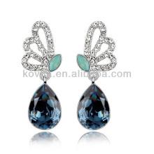 Borboleta asas diamantes jóias azul safira queda brincos de pedra brinco de casamento de ouro branco