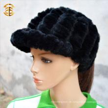 Großhandelspreis-Art und Weise strickte Kaninchen-Pelz-Mütze-Hut für Frauen