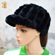 Preço por atacado Fashion Knitted Rabbit Fur Beanie Hat For Women