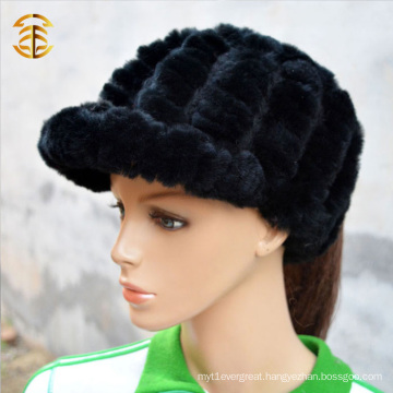 Wholesale Price Fashion Knitted Rabbit Fur Beanie Hat For Women