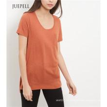 Marrón claro solo bolsillo mujer camiseta