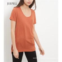T-shirt de femmes de poche simple brun clair